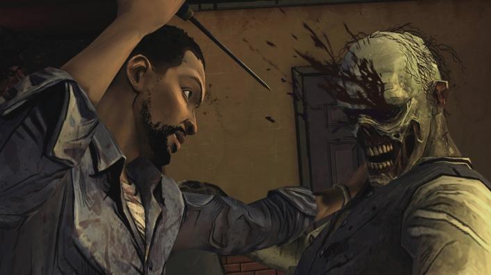 Lee kills zombie